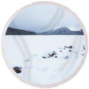 Snow Cover Jordan Pond Round Beach Towel