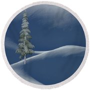 Snow Covered Tree And Mountains Color Round Beach Towel