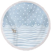Snow Day Round Beach Towel
