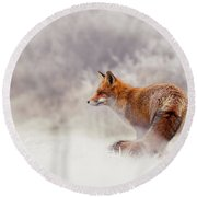 Snow Fox Series - Lost In This World Round Beach Towel