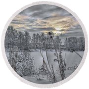 Snow #i3 Round Beach Towel