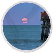 Snow Moon Round Beach Towel