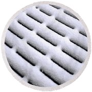Round Beach Towel featuring the photograph Snow Patterns by Jon Burch Photography