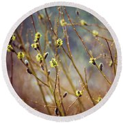 Snowfall On Budding Willows Round Beach Towel