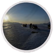 Snowmobile Expeditions Round Beach Towel