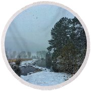 Round Beach Towel featuring the photograph Snowstorm At The Lake by Dan Miller