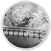 Snowy Bridge On Mill Creek Round Beach Towel