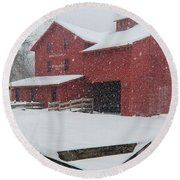 Snowy Day At Bonneyville Mill Round Beach Towel