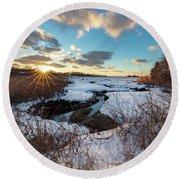Snowy Day At Mill Creek Yarmouth Port Massachusetts Round Beach Towel