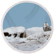 Snowy Day Round Beach Towel