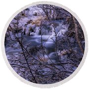 Snowy Forest With Long Exposure Round Beach Towel