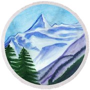 Two Mountain Spruce Against The Backdrop Of Snow-capped Peak Round Beach Towel