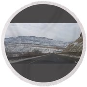 Snowy Mountain Road Round Beach Towel