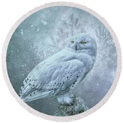 Snowy Owl In Winter Round Beach Towel