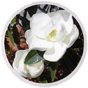 Snowy White Gardenia Blossoms Round Beach Towel