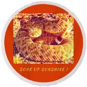 Round Beach Towel featuring the photograph Soak Up Sunshine by Judy Kennedy