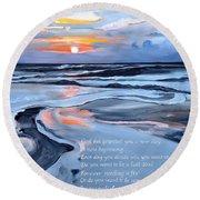 Sobriety Encouragement Painting Round Beach Towel