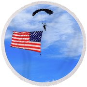 Socom Flag Jump Round Beach Towel