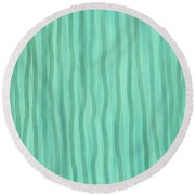 Soft Green Lines Round Beach Towel