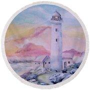 Soft Lighthouse Round Beach Towel