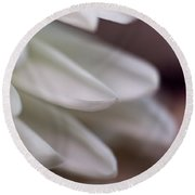 Soft White Petals-1 Round Beach Towel