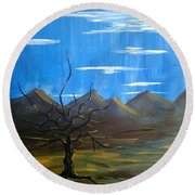 Round Beach Towel featuring the painting Solo And Beautiful  by Aaron Bombalicki