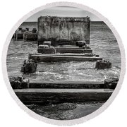 Round Beach Towel featuring the photograph Something In The Water by Steve Stanger