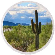 Sonoran Desert Landscape Post-monsoon Round Beach Towel