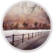 Round Beach Towel featuring the photograph Sounds In The Paddock by Randi Grace Nilsberg