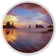 Round Beach Towel featuring the photograph South Coast Sunset by Darren White
