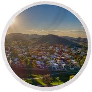 South Mountain Sunset Round Beach Towel