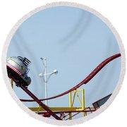 Southport.  The Fairground. Crash Test Ride. Round Beach Towel