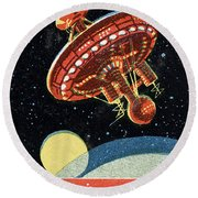 Soviet Space Station Round Beach Towel