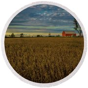 Soybean Sunset Round Beach Towel