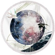 Round Beach Towel featuring the digital art Space Operetta by Bee-Bee Deigner