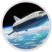 Spacex Bfr Big Falcon Rocket With Earth Round Beach Towel