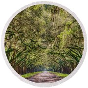 Spanish Moss Tree Tunnel Round Beach Towel