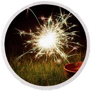 Round Beach Towel featuring the photograph Sparkler In A Plant Pot by Scott Lyons
