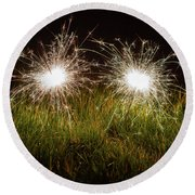 Round Beach Towel featuring the photograph Sparklers In The Grass by Scott Lyons