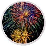 Sparkling Bright Fireworks Round Beach Towel