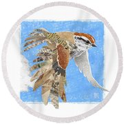 Round Beach Towel featuring the mixed media Sparrow by Clint Hansen
