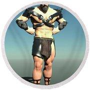 Spartan Warrior Round Beach Towel