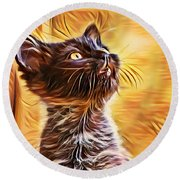 Special Long Neck Kitty Round Beach Towel