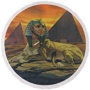 Sphinxes  Round Beach Towel