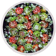 Spiced Tomatoes Round Beach Towel
