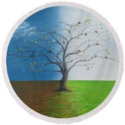 Round Beach Towel featuring the painting Spirit Of Eden by Kevin Daly
