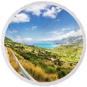 Splendid View To A Valley Round Beach Towel