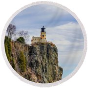Split Rock Lighthouse Portrait Round Beach Towel