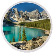 Spring Afternoon At Moraine Lake Round Beach Towel