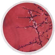 Spring Blossom Border Over Red Arty Textured Background. Chinese Round Beach Towel